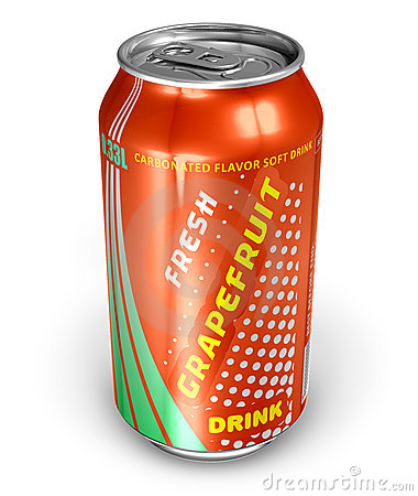 Grapefruit soda drink in metal can