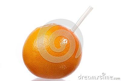 Grapefruit with straw