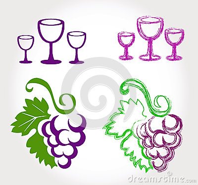 Free Grapes And Wine Glasses Stock Images - 32528954
