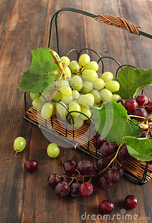 Grapes in the basket.