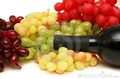 Grapes and bottle of wine