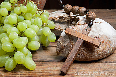 Grapes and broken bread