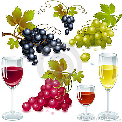 Grapes with leaves. wine glass  with wine.