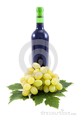 Grapes and wine bottles, leaves.