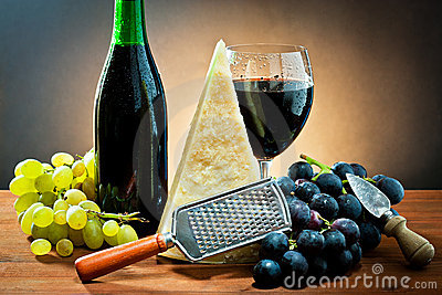Grapes, wine and cheese
