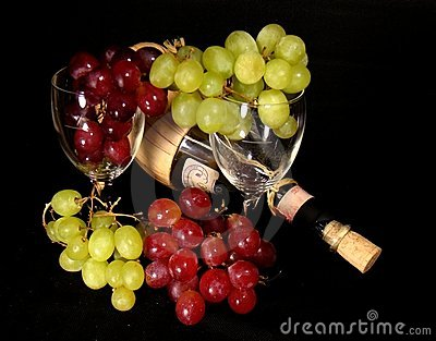 Grapes with Wine and Glasses