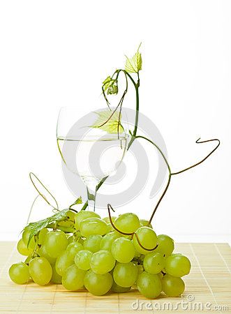 Grapevine, green grapes and glass of wine