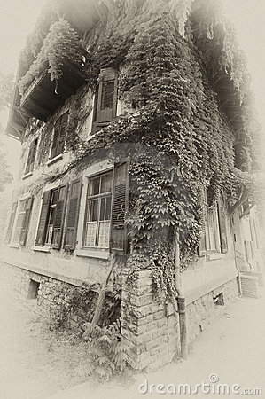 Grapevine house in sepia
