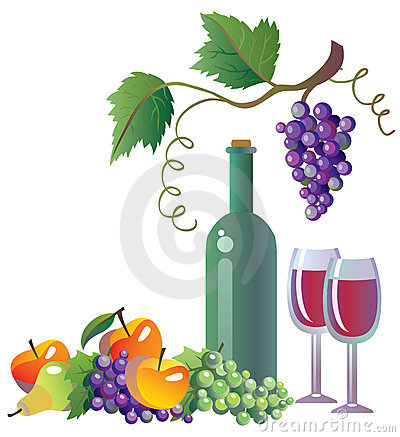 Grapevine, wine and fruits