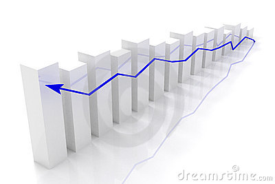 Graph of business success and growth concept