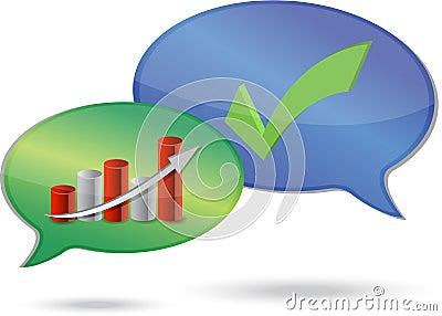 Graph and checkmark dialog illustration design