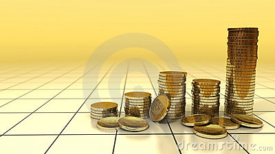 Graph of gold coins increase on background