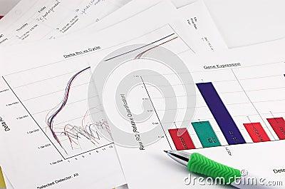 Graph, scientific data, pen