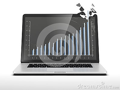 Graph showing high growth on laptop