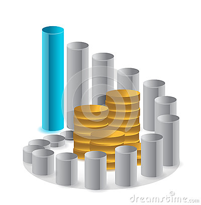 Graph and stack of coins