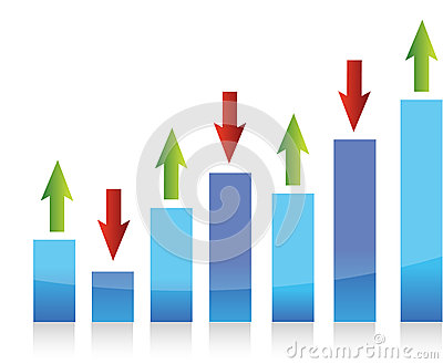 Graph up and down arrows illustration