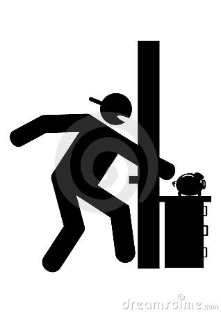 Graphic burglar stealing money