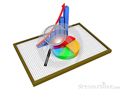 Graphic charts on a board and a magnifier