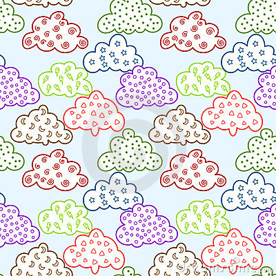 Graphic Clouds Seamless Pattern