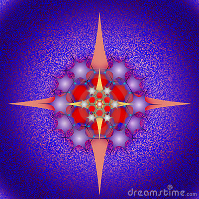 Graphic composition with use of stars, pentagons