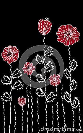 Graphic decoration poppy border