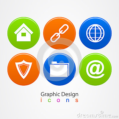 Graphic design set of business icons buttons