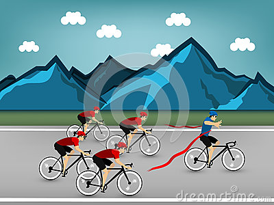 Graphic design vector of athlete cycling race on the road at the mountain Vector Illustration