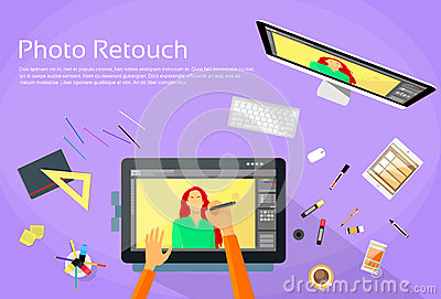 Graphic designer professional tablet drawing stock vector for Pc retouche photo