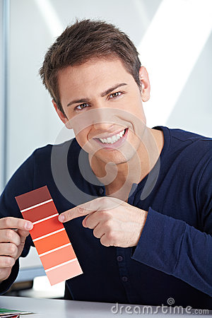 Graphic designer with red color