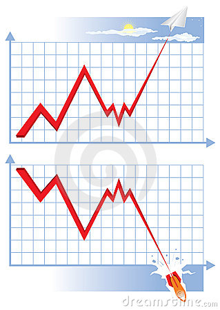 Graphic growth and decline. Vector illustration.