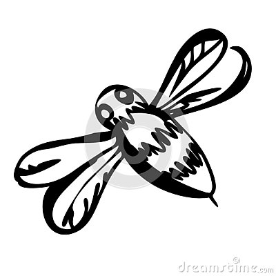 Graphic illustration of silhouette honey bee. Isolated on background vector drawing for honey products, package, design Vector Illustration