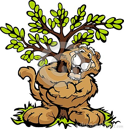 Graphic  Image of a Happy Cougar Hugging a Tree