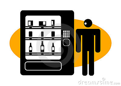 Graphic man at a vending machine