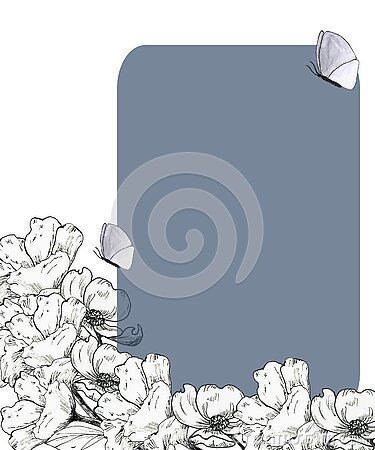 Postcards, invitations for holidays with graphic monochrome flowers on a gray background Stock Photo
