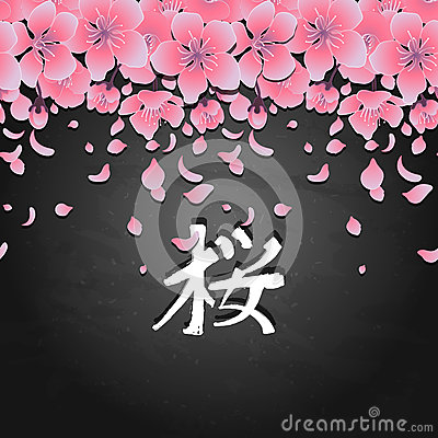 Graphic sakura card Vector Illustration