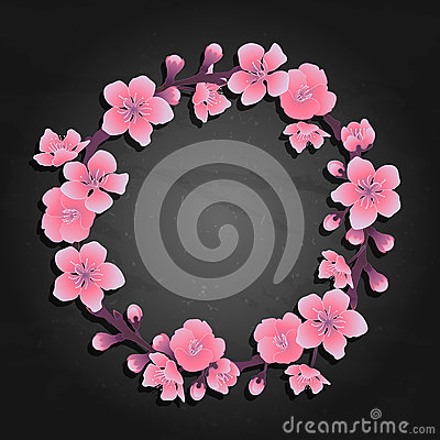 Graphic sakura wreath Vector Illustration