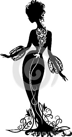 Graphic silhouette of a woman