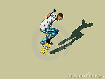 Graphic of skateboarder