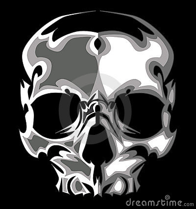 Graphic Skull Image on Black Vector