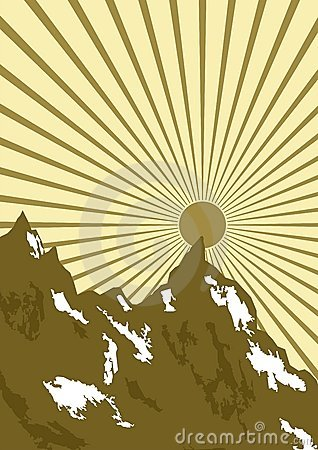 Graphic of sun over mountains