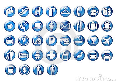 Graphic travel icons on blue circle