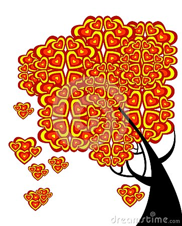 Graphic tree of love with hearts