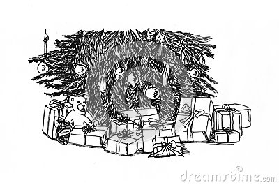 Graphical sketch Christmas tree