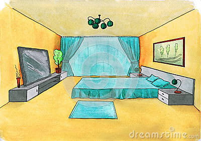 Graphical sketch of an interior bedroom