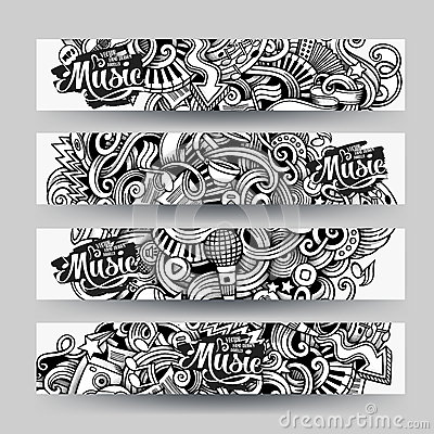 Free Graphics Vector Hand Drawn Sketchy Trace Music Doodle Banners Stock Photography - 67945282