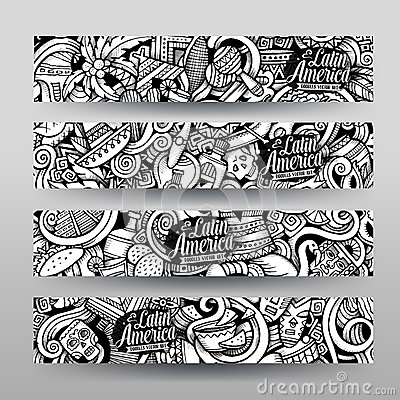 Free Graphics Vector Latin American Doodle Banners Royalty Free Stock Images - 67945859