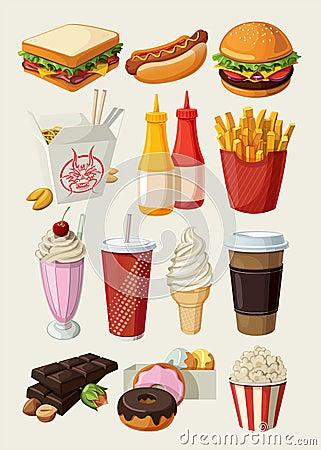 Graphismes d aliments de préparation rapide