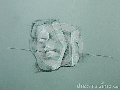 Graphite illustration of ceramic face mould
