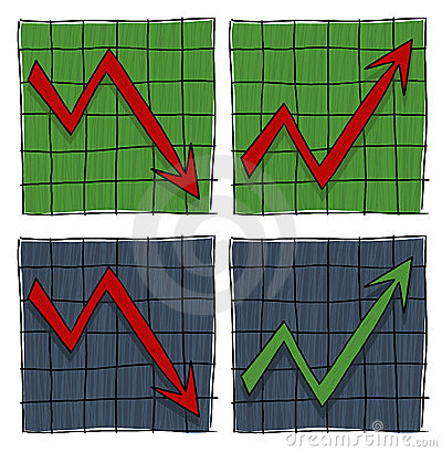 Graphs with arrows illustration
