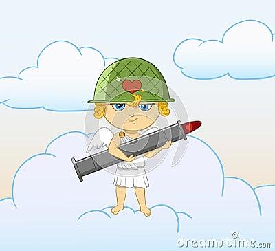 Grappige cupid van het beeldverhaal met bewapende valentijnskaartbazooka